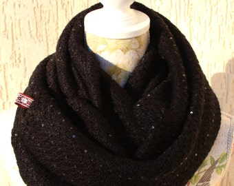 Infinity scarf,thick knitted scarf,black with sequins, Free shipping