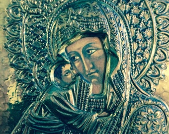 Silver Icon of Mother Mary and Jesus