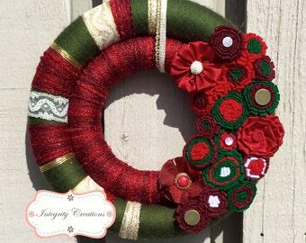 Christmas Wreath - Holiday Wreath - Double Wreath - Yarn Wrapped Wreath - Christmas Decor - Holiday Decor - Felt Wreath
