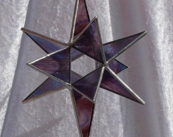 Stunning 12 point 3D stained glass Moravian star in purple and blue marbled effect glass