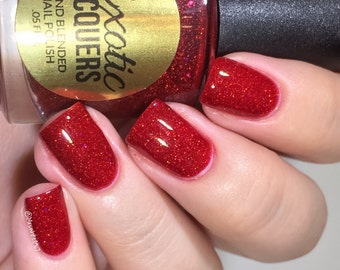 SANTA BABY Red Jelly Polish with Red and Gold Micro Holographic Glitters- Christmas Collection