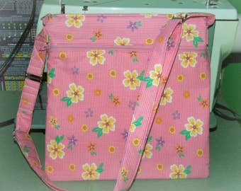 Pink Floral Handbag with adjustable strap - Crossbody Bag -  Free Shipping !