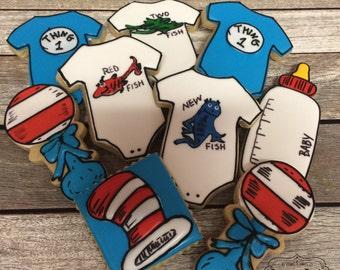 Dr. Seuss baby shower cookies -1 dozen