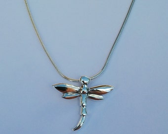 Sterling silver dragon fly pendant on silver snake chain, 925 jewellery
