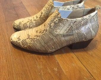 Vintage snakeskin ankle boots/Western/cowboy/Mens8.5M/Womens 9ish