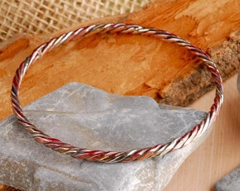 three twisted strands bangle bracelet