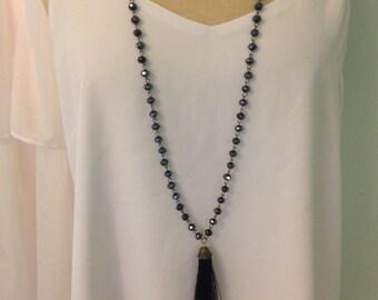 Black Sparkle Tassel Necklace