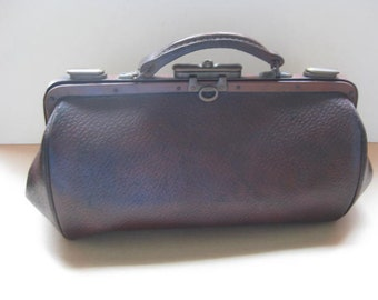 French vintage brown leather doctor bag.