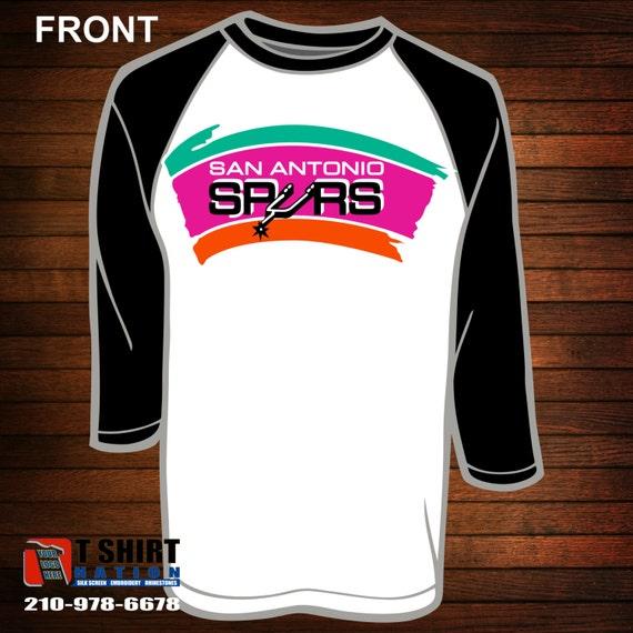 San antonio spurs retro logo baseball tee by teeshirtnation for Screen print shirts san antonio
