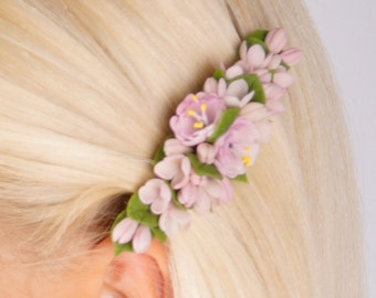 flower hair accessories - lilac hair barrette