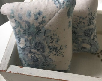 Tilda quilted blue and  white lavender mini pillows
