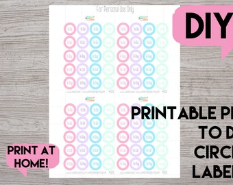 Printable Planner Circle Stickers for Planners (Digital PDF File/Printable)