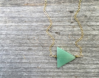 Green Aventurine Necklace -Green Triangle Beaded Necklace -Minimalist Necklace - Petite Necklace -Bridesmaid Necklace