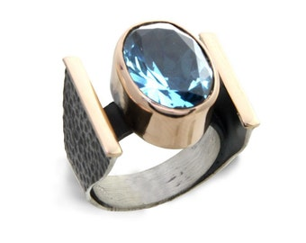 Aquamarine silver oxide ring