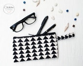 Canvas pencil Case black and white pattern, Zipper Pouch, Small Cosmetic Bag.