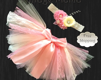 Pink Lace Tutu with Matching Headband - for Newborns up to 3yr old girls
