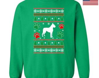 Ugly Christmas Sweatshirt Boxer Dog Design Ttd10