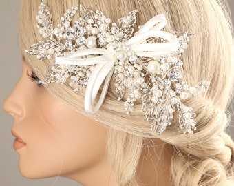wedding hair piece, bridal pearl hairpiece, Bridal accessory, wedding hair pin, bridal hair pin , pearl hair pin, pearl hairpiece