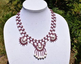 Beaded Necklace and Earrings Set Lace Necklace Seed Bead Necklace Beaded Earrings, Elegant Jewelry Set, Statement Necklace, Beadwork
