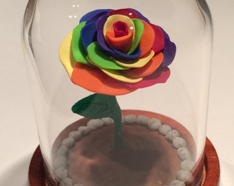 Free Shipping, Rainbow Rose, Beauty and the Beast Rose, Enchanted Rose, Glass Rose Dome, wedding, Beauty and the Beast, Rose, Rainbow, love