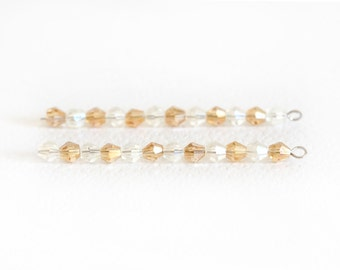 1494_White, gold bicone beads 4 mm, Glass beads, Glass jewelery, Transparent_AB beads,Crystals,Faceted beads for jewelry,Glass crystal_95pcs