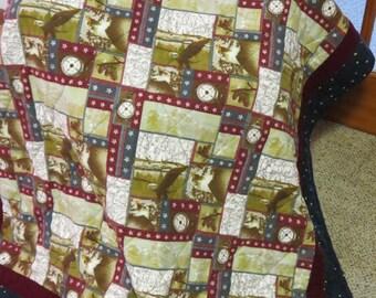 "Americana Quilt - Lap  Throw  Stadium Blanket - USA Eagle Stars Flannel - 52"" x 68"" - Ready to Ship"