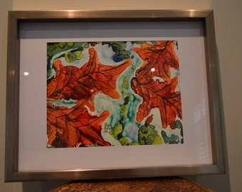 Canadian Maples Original Alcohol Ink on Yuppo Paper