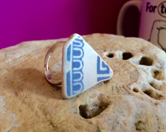 Sea Ceramic Ring - blue and white