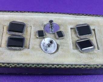 Antique Cuff Links and Collar Studs, Silver Cuff Link Set, 14ct Gold Edging, Black Onyx