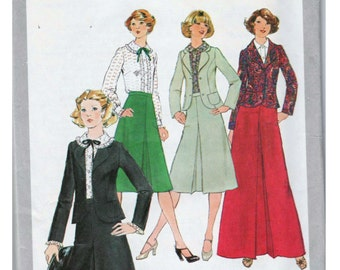 70s Skirt Suit Pattern Prairie Blouse SIMPLICITY 8246 sz 14 b 36 UNCUT A-line Skirt Pattern Long Skirt Pattern Inverted Pleat Womens Blazer