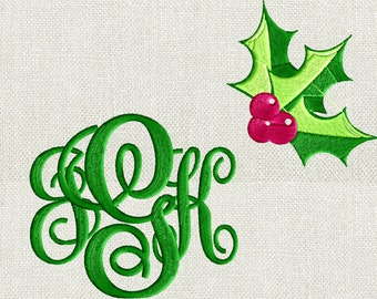 """Holly Sprig Christmas EMBROIDERY DESIGN FILE - Instant download - Font sold separately - 4"""" frames - Sew Xxx Exp Xp3 Dst Hus Jef Pes formats"""