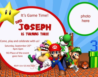 Super Mario Invitation. Super Mario Birthday Invitation. Super Mario Bros Invitation. Digital (you print)