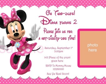 Minnie Mouse Invitation. Minnie Mouse Birthday Invitation. Minnie Mouse Party. With or Without Photo Layout. Digital (you print)