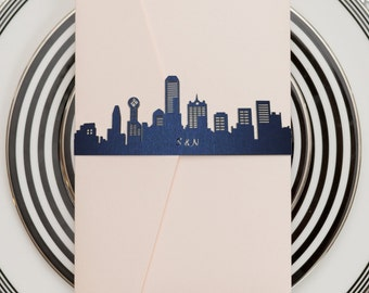 Dallas Skyline - Wedding Invitation Belly Band - Set of 10