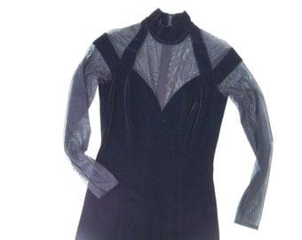 Black mesh and velvet vintage dress. 80's vintage