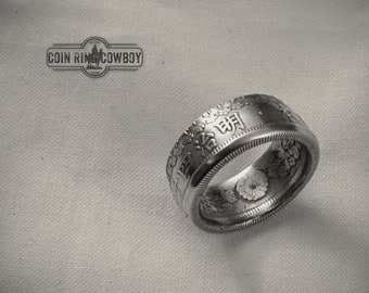 Silver Japanese 50 Sen Coin Ring