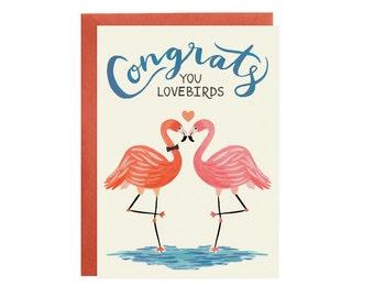 Lovebird Flamingos - Wedding + Engagement Card