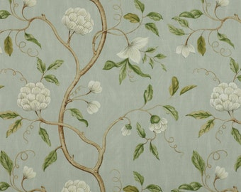 COLEFAX & FOWLER CHINOISERIE Japanese Snow Tree Floral Linen Fabric 10 Yards Aqua Oyster Green Amber
