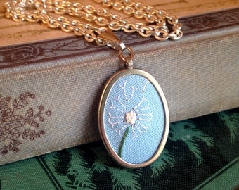 Make a wish hand-embroidered dandelion pendant necklace
