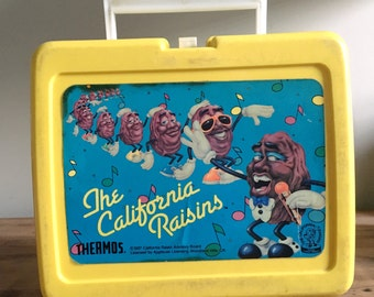 Vintage 1980s California Raisins Yellow Lunchbox, 1987, Heard It Through the Grapevine, Thermos