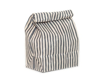 Lunch Bag in Navy Ticking // Waxed Canvas Lunch Bag // Lunch Bags // Striped Lunch Bag