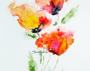 "Print of ""Poppies on Fire"" Watercolor"