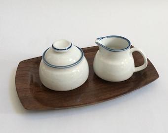Vintage Mikasa Cordon Bleu White with Brown Specks Blue Rim Sugar Bowl & Creamer