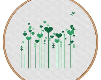 MORE for FREE - Love Flowers Green - Counted Cross stitch pattern PDF-Instant Download-Cross Stitch Pattern-Valentine-Love-Needlepoint #1456