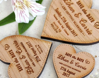 Wooden Save the date heart Magnets, Wedding magnets