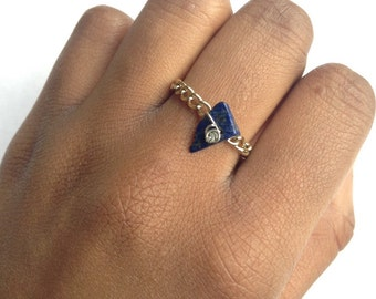 Lapis Lazuli Ring Gold Chain Handmade Silver Wrapped Golden Wire gemstone chip bead lapis ring lazuli ring