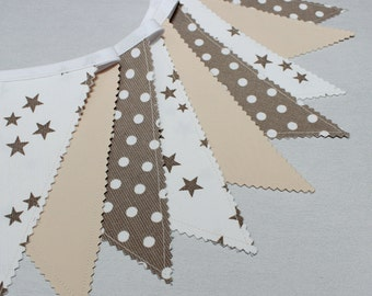 Bunting Garland, Fabric Banner, Beige, Taupe, Nursery Decor, Bunting Flags, Gender Neutral Nursery