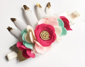 Boho Baby Headband - Baby Flower Crown - Wild One Birthday - Felt Flower Crown - Birthday Crown - Baby Flower Headband - Feather Headband