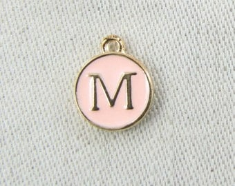 """Pink and Gold Enamel Letter """"M"""" Charm, 1 or 5 letters per package  ALF003m-P"""