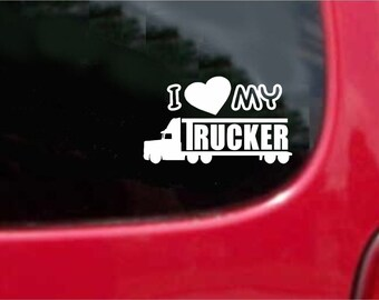 Set (2 Pieces) I Love My Trucker Sticker Decals 20 Colors To Choose From.  U.S.A Free Shipping